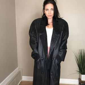 Vintage Black Leather Patchwork Long Trench Coat